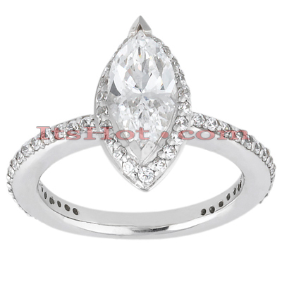 14K Gold Unique Diamond Engagement Ring 0.96ct Main Image