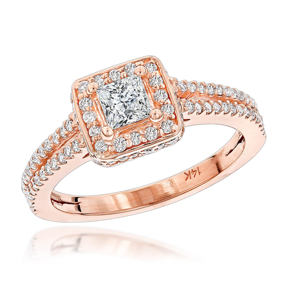 14K Gold Unique Diamond Engagement Ring 0.97ct Rose Image