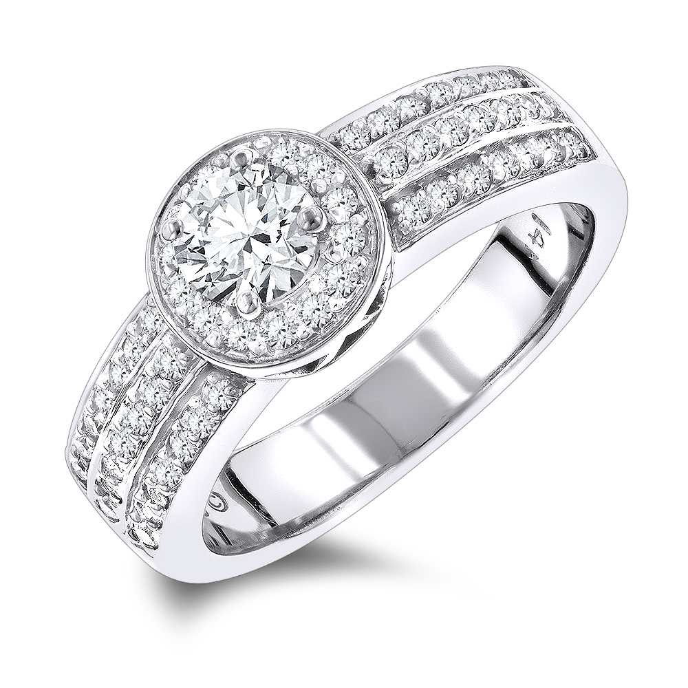 Halo 1 Carat Unique Round Diamond Engagement Ring for Women in 14k Gold White Image