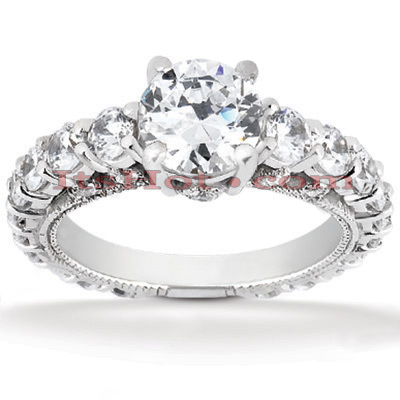 14K Gold Unique Diamond Engagement Ring 1.93ct