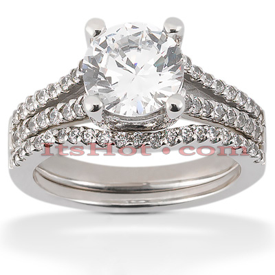 14K Gold Unique Diamond Engagement Ring Set 0.42ct Main Image