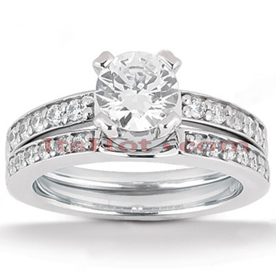 14K Gold Unique Diamond Engagement Ring Set 0.76ct