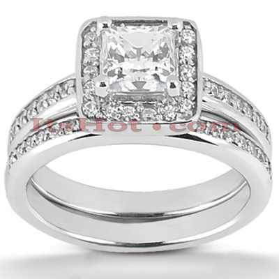 14K Gold Unique Diamond Engagement Ring Set 0.87ct Main Image