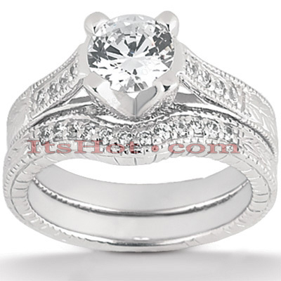 14K Gold Unique Diamond Engagement Ring Set 0.93ct