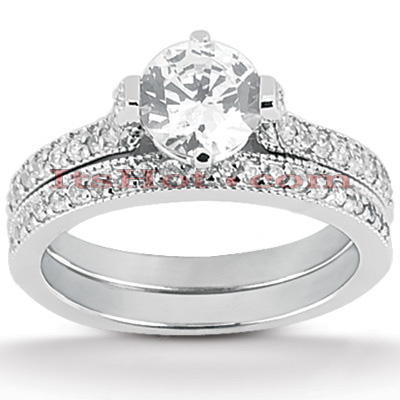 14K Gold Unique Diamond Engagement Ring Set 0.95ct Main Image