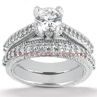 14K Gold Unique Diamond Engagement Ring Set 0.96ct Main Image