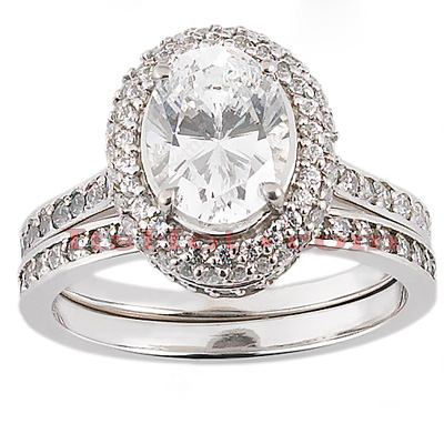 14K Gold Unique Diamond Engagement Ring Set 1.18ct