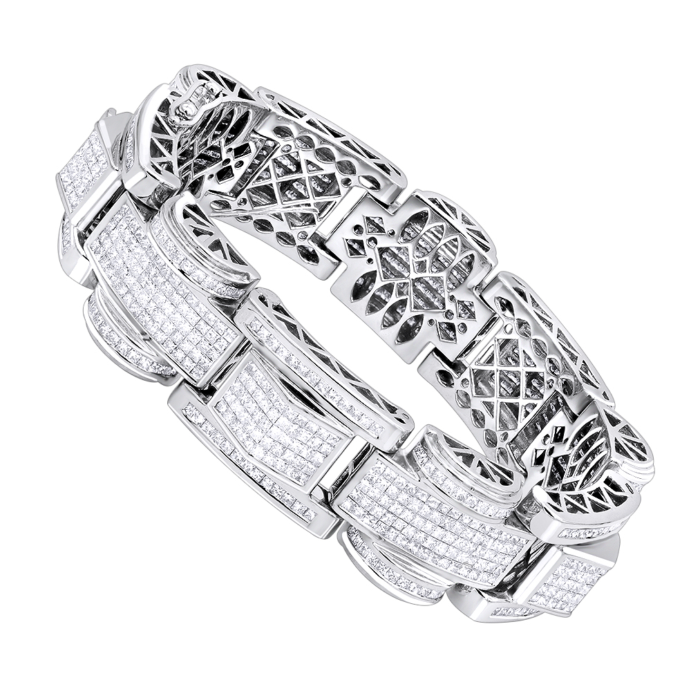14K Gold Unique Princess Cut Diamond Bracelet for Men 30ct by Luxurman White Image