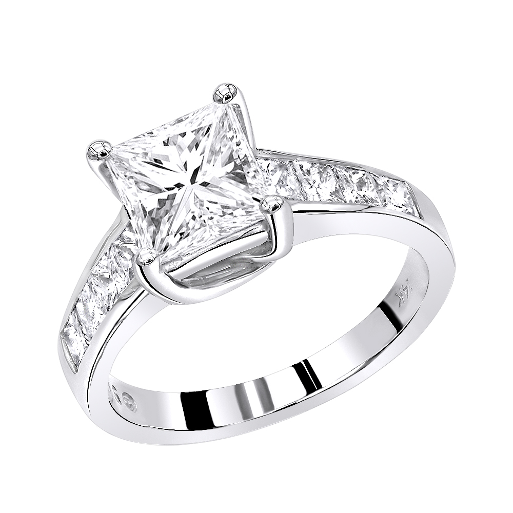 14K Gold Unique Princess Cut Diamond Engagement Ring 2.65ct by Luxurman White Image