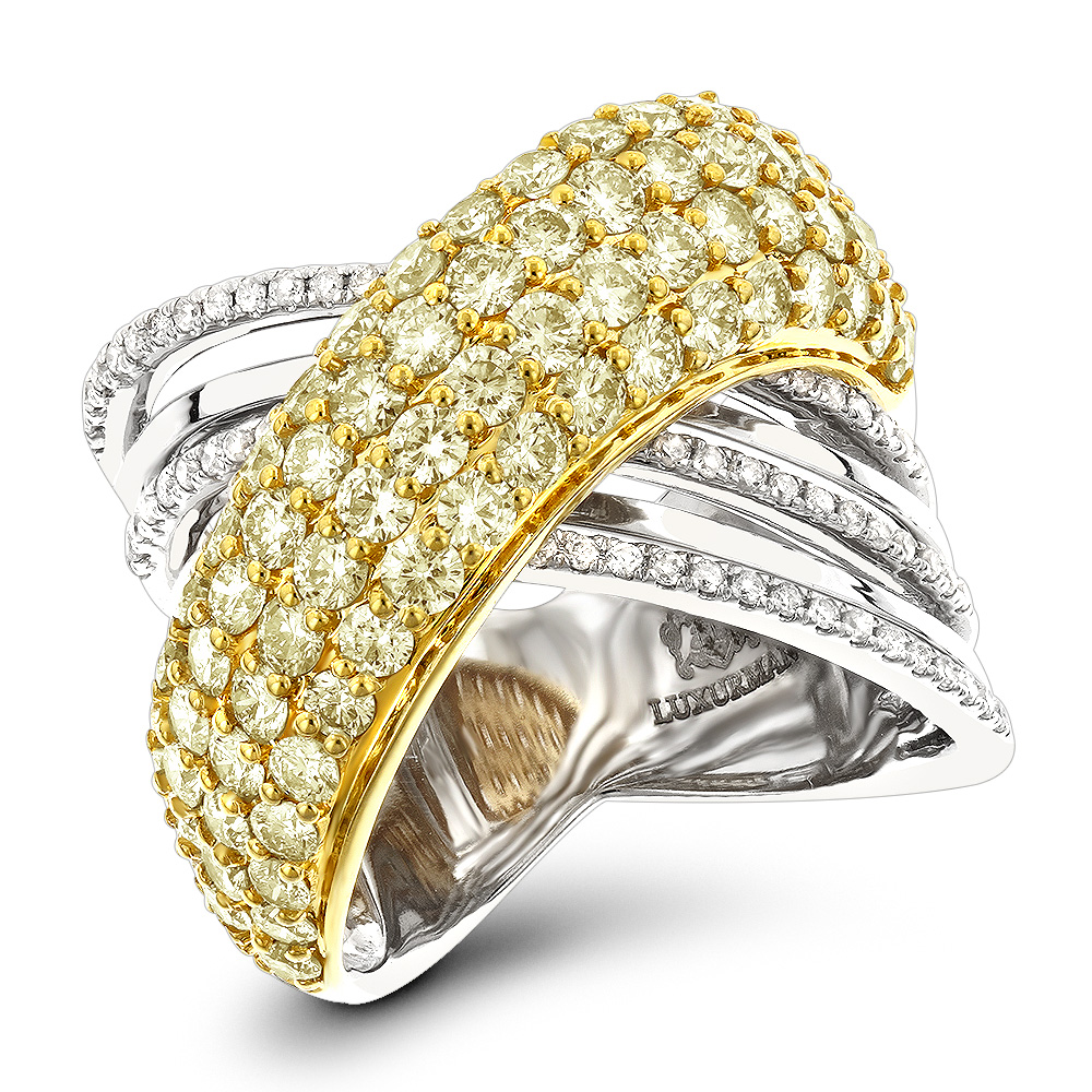 14K Gold Unique White Yellow Diamond Cocktail Ring for Women 3.5ct LUXURMAN White Image