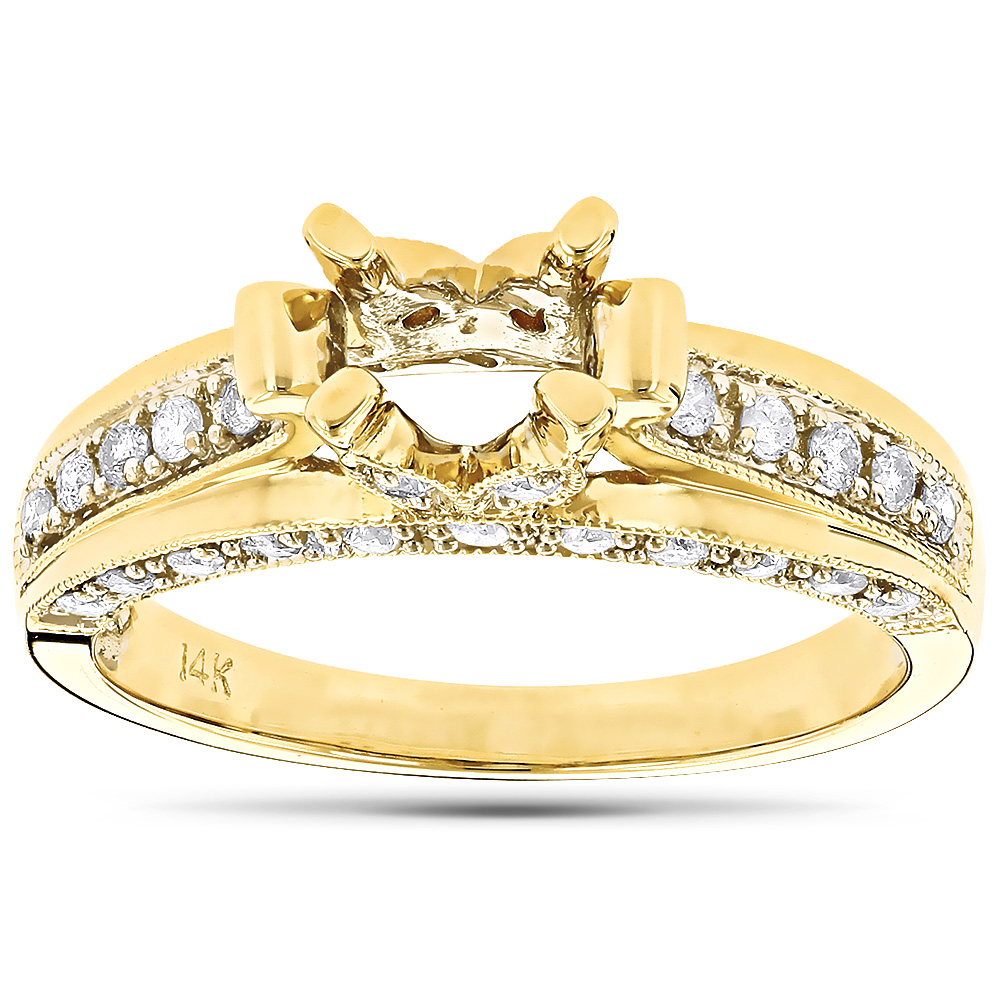 14K Gold Vintage Diamond Engagement Ring Setting .51ct Yellow Image