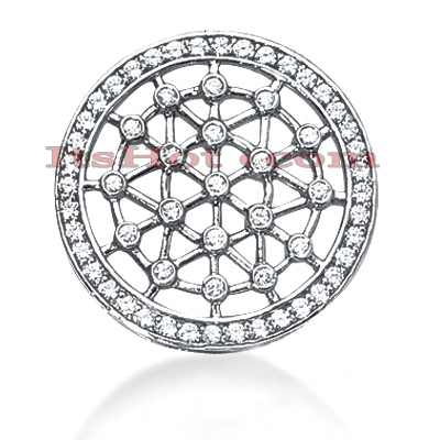 14K Gold Web Circle Diamond Pendant 1.10ct Main Image