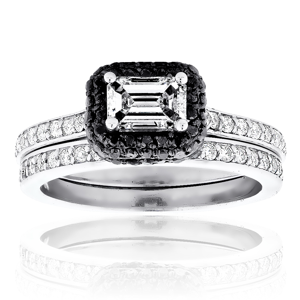Engagement Ring Set 14K Gold White and Black Diamond Emerald Cut