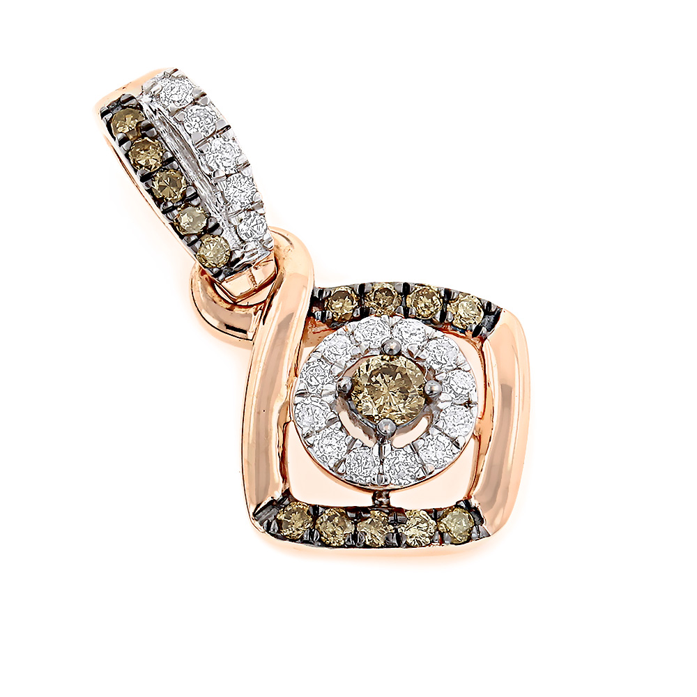 14K Gold  White and Brown Champagne Diamonds Pendant for Women 0.32ct