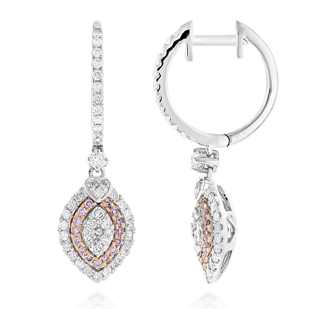 14K Gold White and Pink Diamond Fashion Drop Ladies Earrings 1.14ct White Image