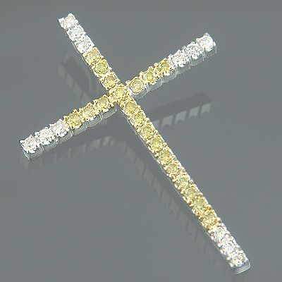 14K Gold White and Yellow Diamond Cross Pendant 0.72ct Main Image