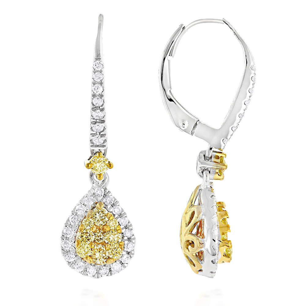 14K Gold White and Yellow Diamond Ladies Drop Earrings 1ct by Luxurman White Image