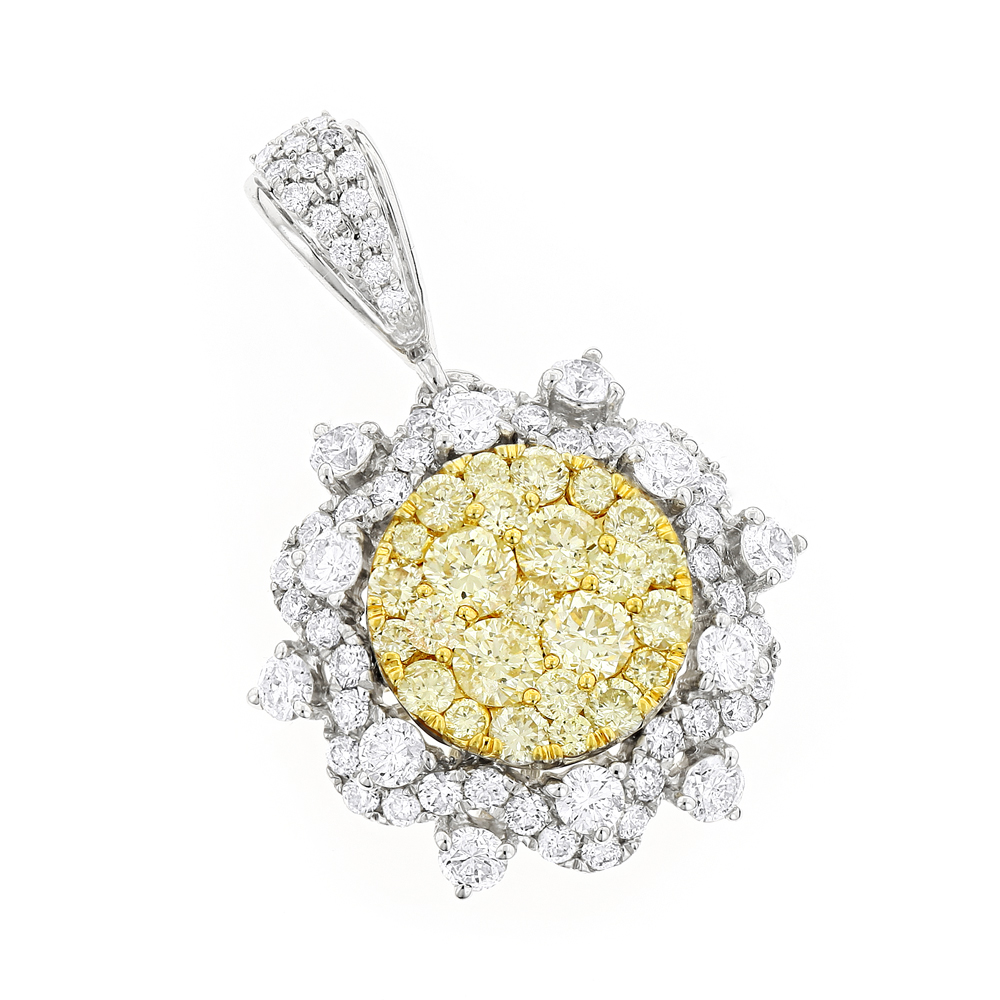 14K Gold White and Yellow Diamond Ladies Flower Pendant 2.3ct White Image