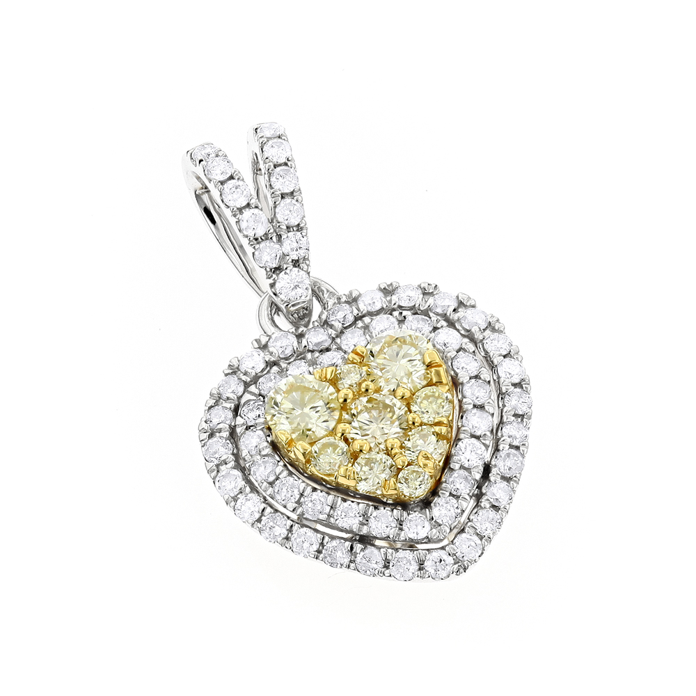 14K Gold White and Yellow Diamonds Heart Pendant for Women 0.88ct White Image