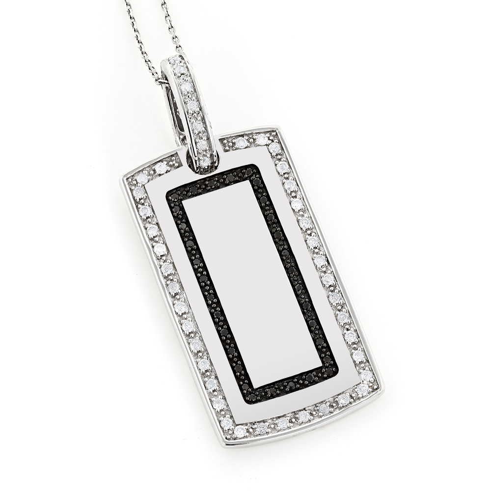 14K Gold White Black Diamond Dog Tag Pendant 1.34ct White Image