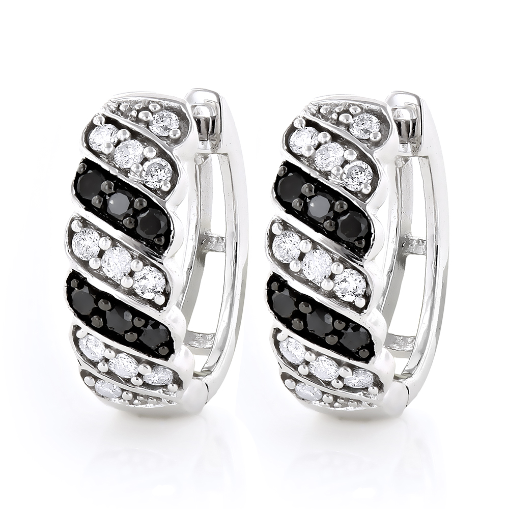 14K Gold White Black Diamond Hoop Huggie Earrings .65ct White Image