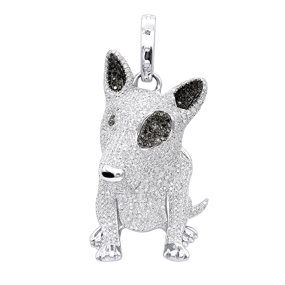 14K Gold White Black Diamond Mini Bull Terrier Dog Pendant 3.85ct White Image