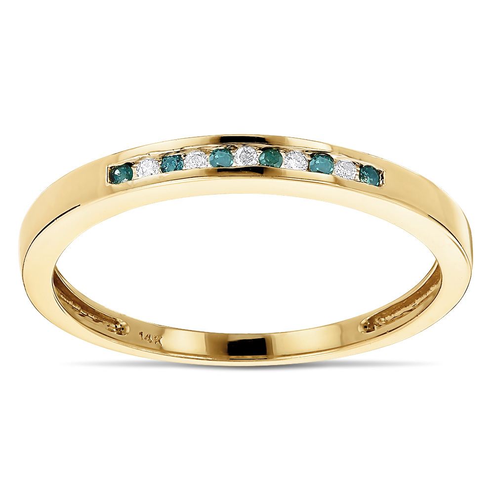 Stackable Rings: Ultra Thin 14K Gold White Blue Diamond Band For Women Yellow Image