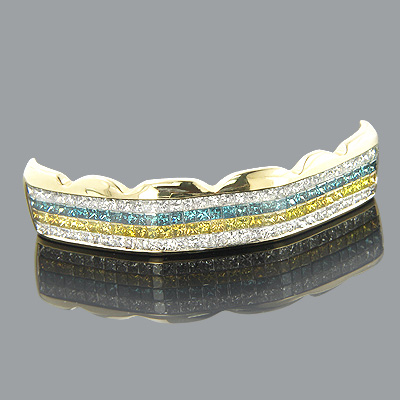 14K Gold White Blue Yellow Real Diamond Grillz 4.73ct Main Image