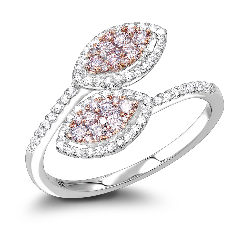 14K Gold White Pink Diamond Leaf Ring for Women Floral Design by Luxurman