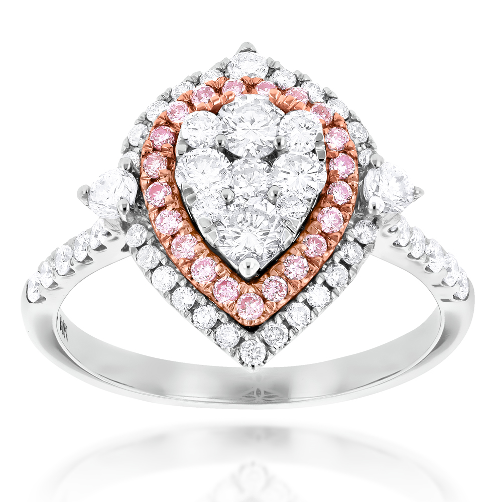 Unique 14K Gold White Pink Diamond Pear Shape Ring for Women Cluster Design White Image