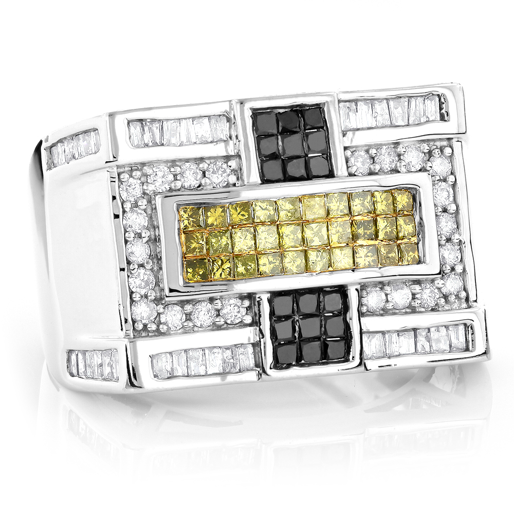 14K Gold White Yellow Black Diamond Ring 1.65ct Main Image