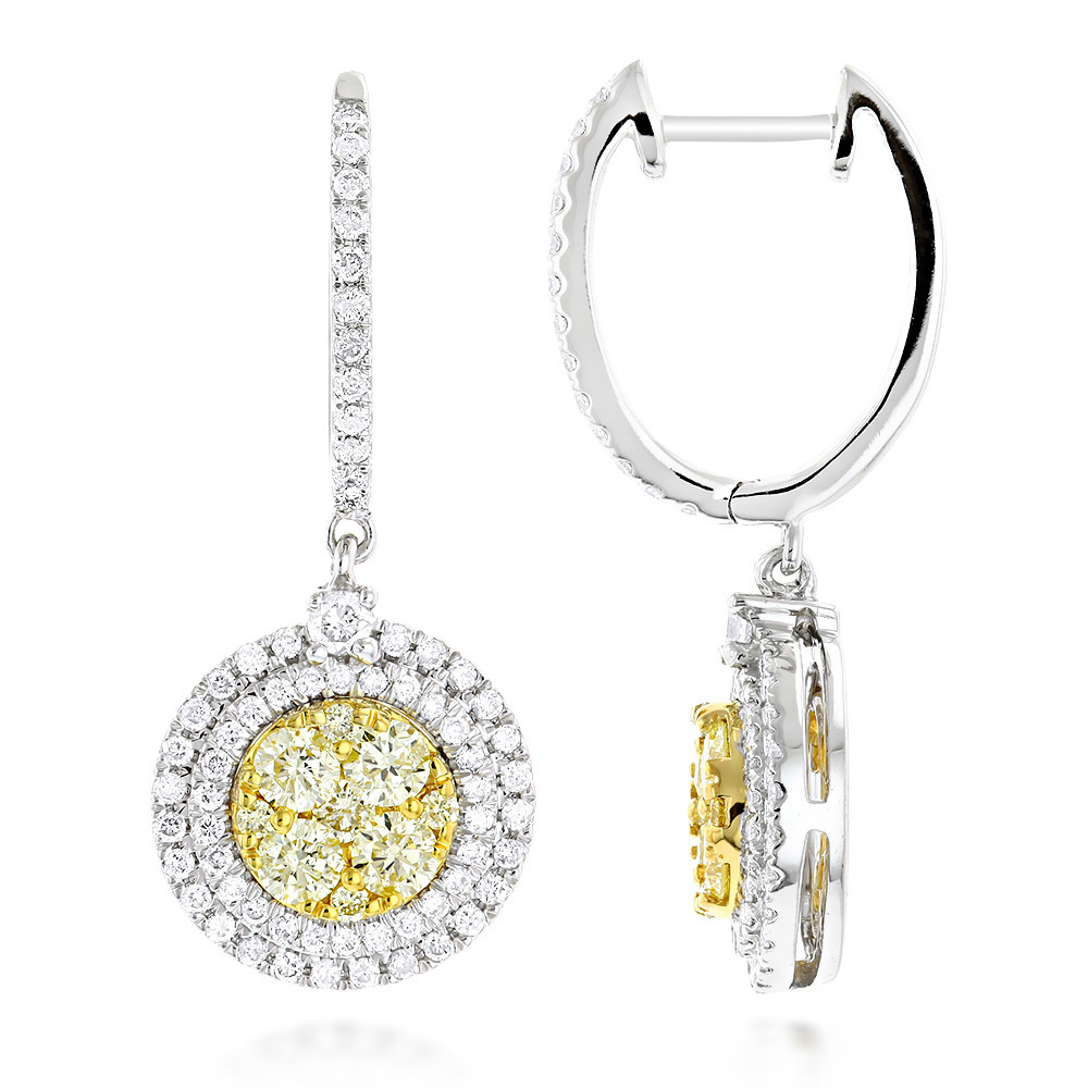 14K Gold White Yellow Diamond Circle Earrings Hoop Dangles by Luxurman 2ct White Image