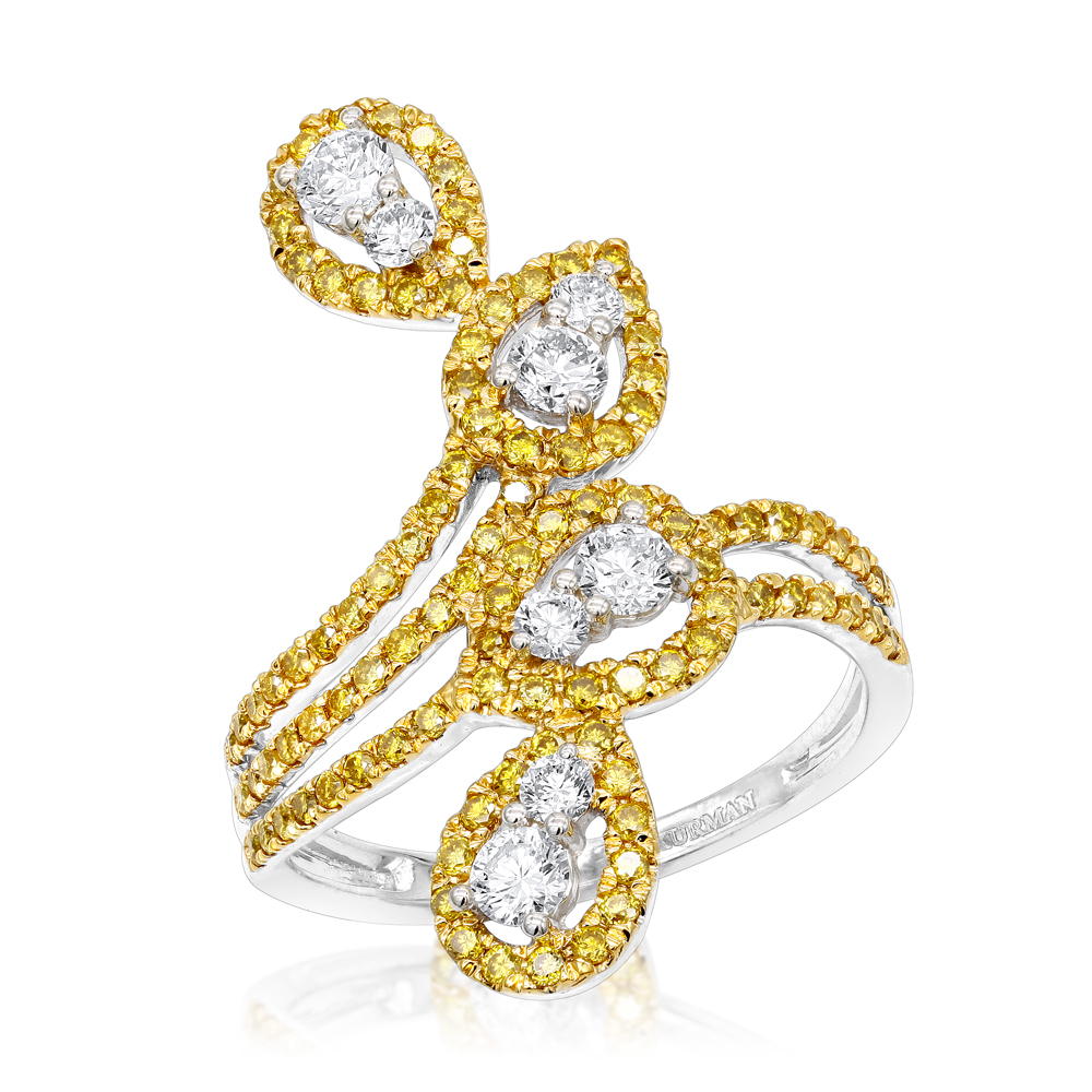 14K Gold White Yellow Diamond Cocktail Ring for Women Floral Design 1.25ct White Image