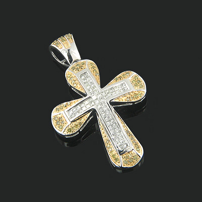 14K Gold White Yellow Diamond Cross Pendant 1.38ct Main Image
