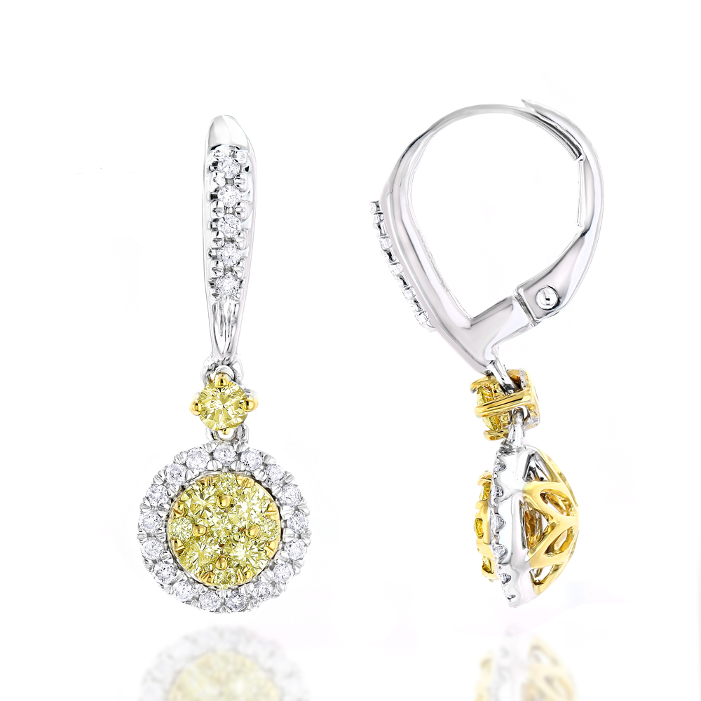 14K Gold White Yellow Diamond Drop Earrings 1.2ct Womens Dangle Hoops White Image