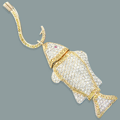 14K Gold White Yellow Diamond Fish on Hook Pendant 7.17 Main Image