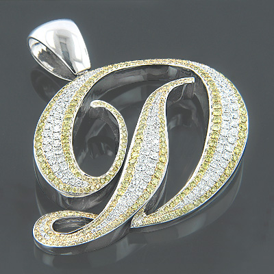 14K Gold White Yellow Diamond Initial D Pendant 7.60ct