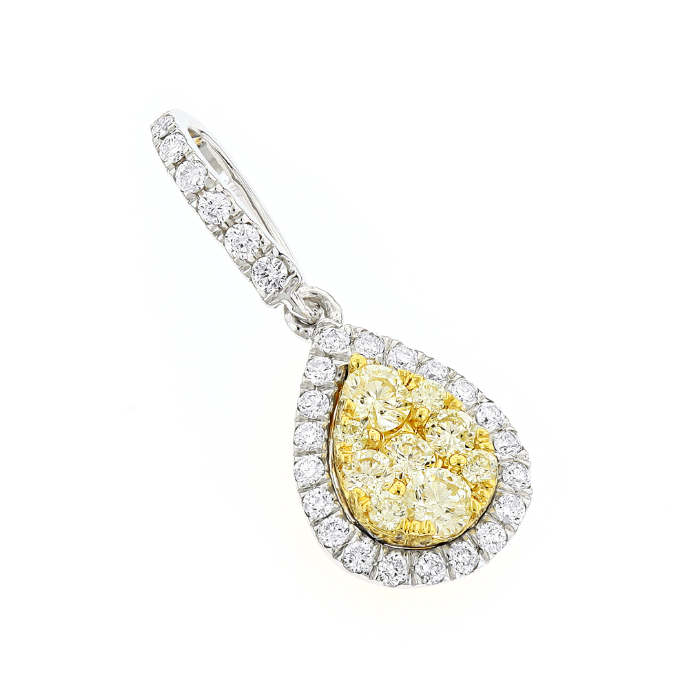 14K Gold White Yellow Diamond Ladies Drop Pendant 0.85ct by Luxurman White Image