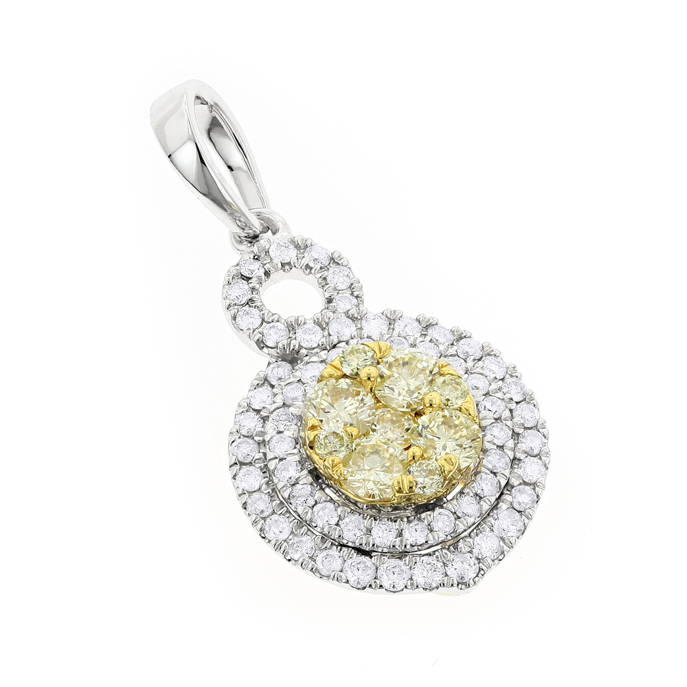 14K Gold White Yellow Diamond Round Pendant for Women 1.15ct