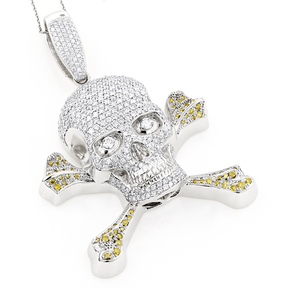 14K Gold White Yellow Diamond Skull Pendant 10.62ct White Image