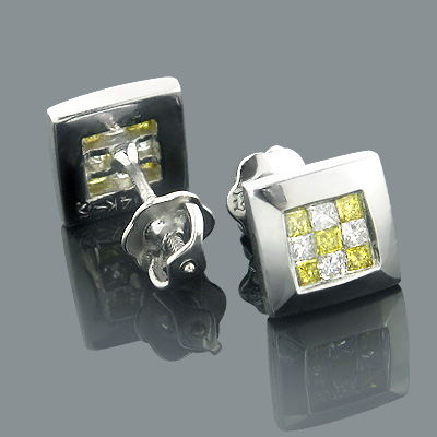 14K Gold White Yellow Princess Cut Diamond Earrings Studs .5