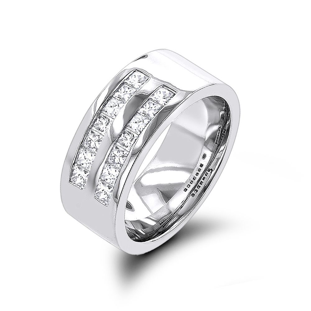 It is just a graphic of 445K Gold Wide Princess Cut Diamond Wedding Band for Men 445.45ct by Luxurman