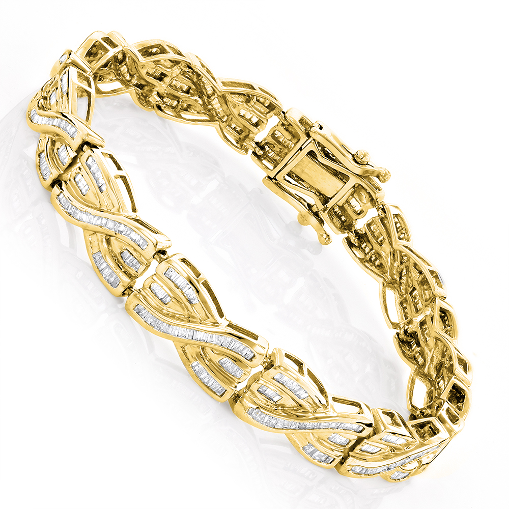 14K Gold Womens Baguette Diamond Bracelet 4 ct Yellow Image