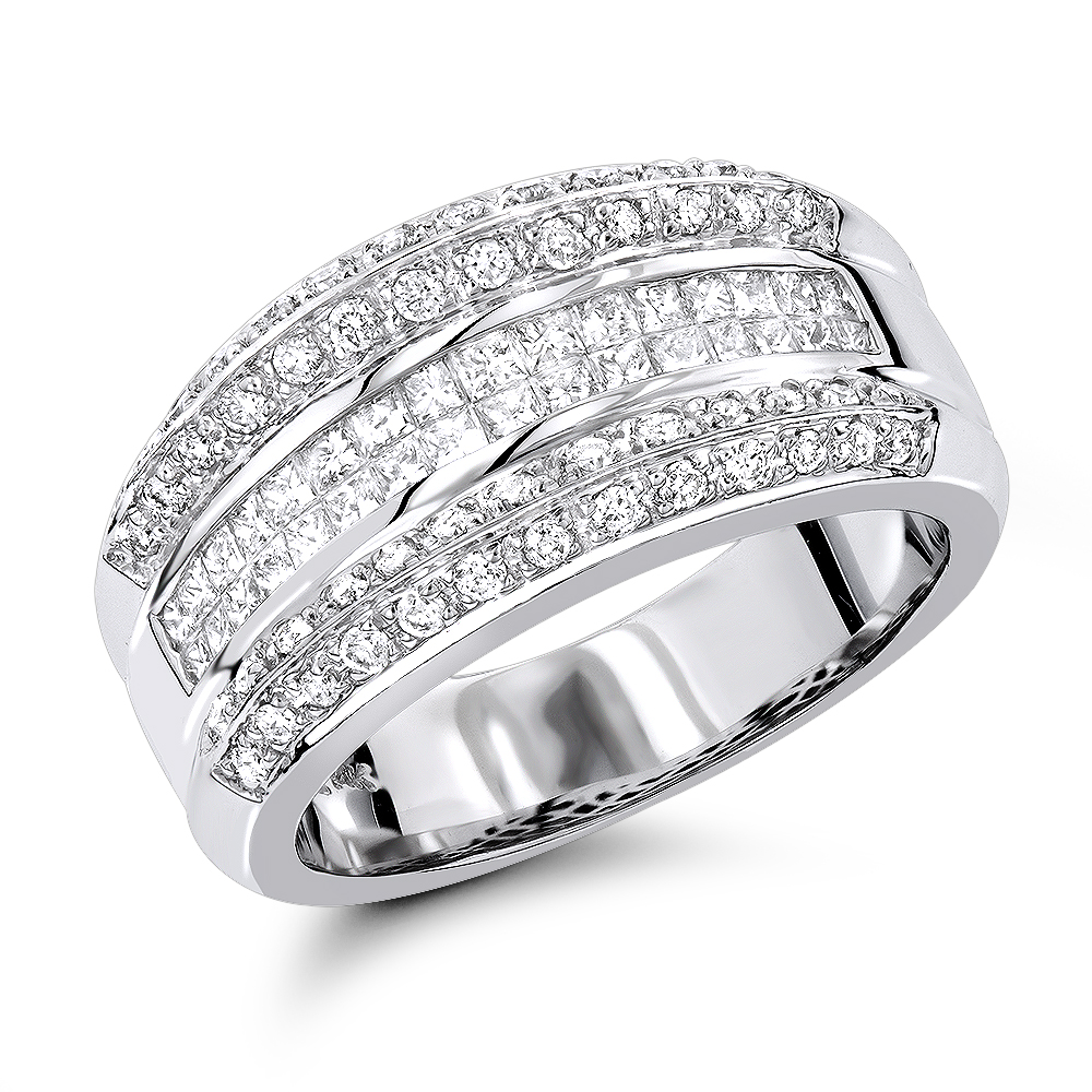 14K White Gold Womens Diamond Bands Collection Item 1.33ct White Image