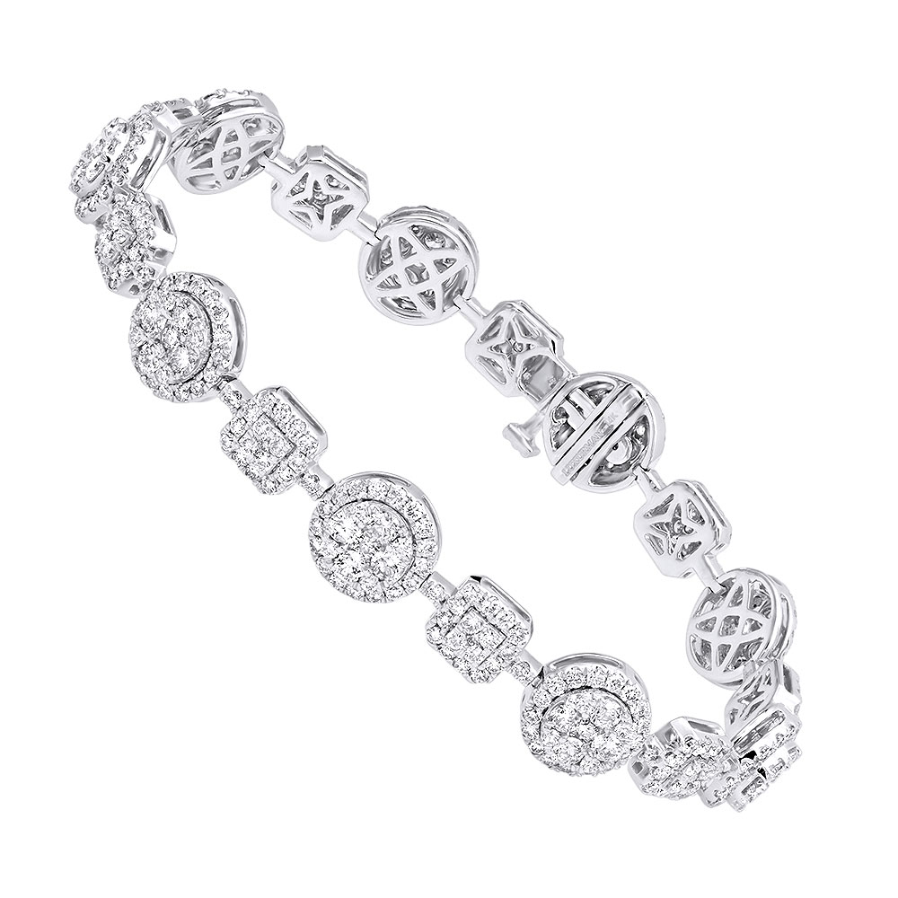 14k Gold Womens Diamond Bracelet 6 Carat Pave Diamonds by Luxurman White Image