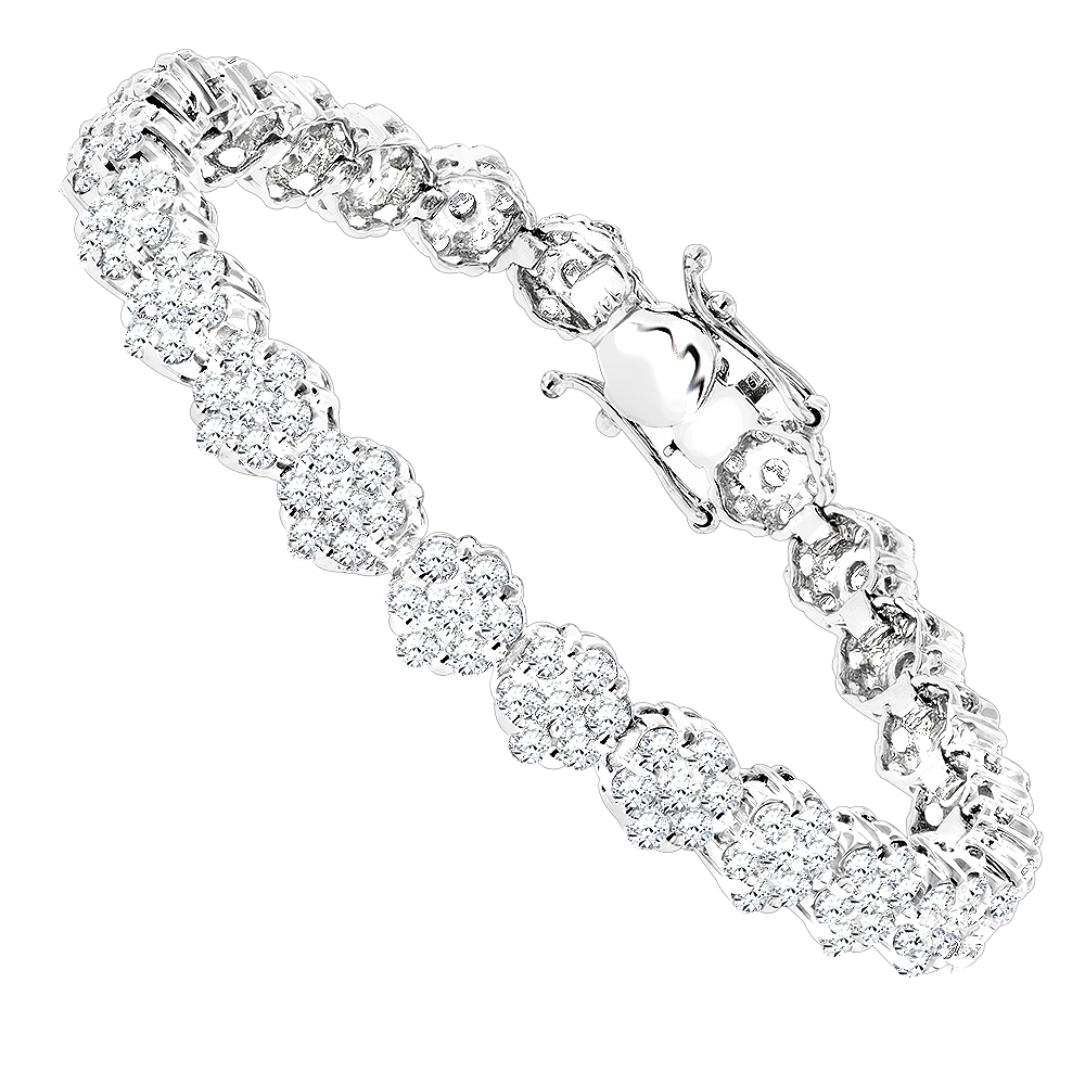 14K Gold Womens Diamond Cluster Tennis Bracelet 8.25ct White Image