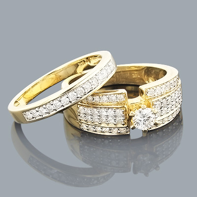 14K Gold Womens Diamond Engagement Ring Set 1.10ct Main Image