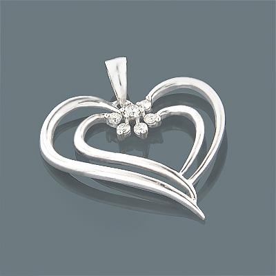 14K Gold Womens Diamond Heart Pendant 0.20ct Main Image