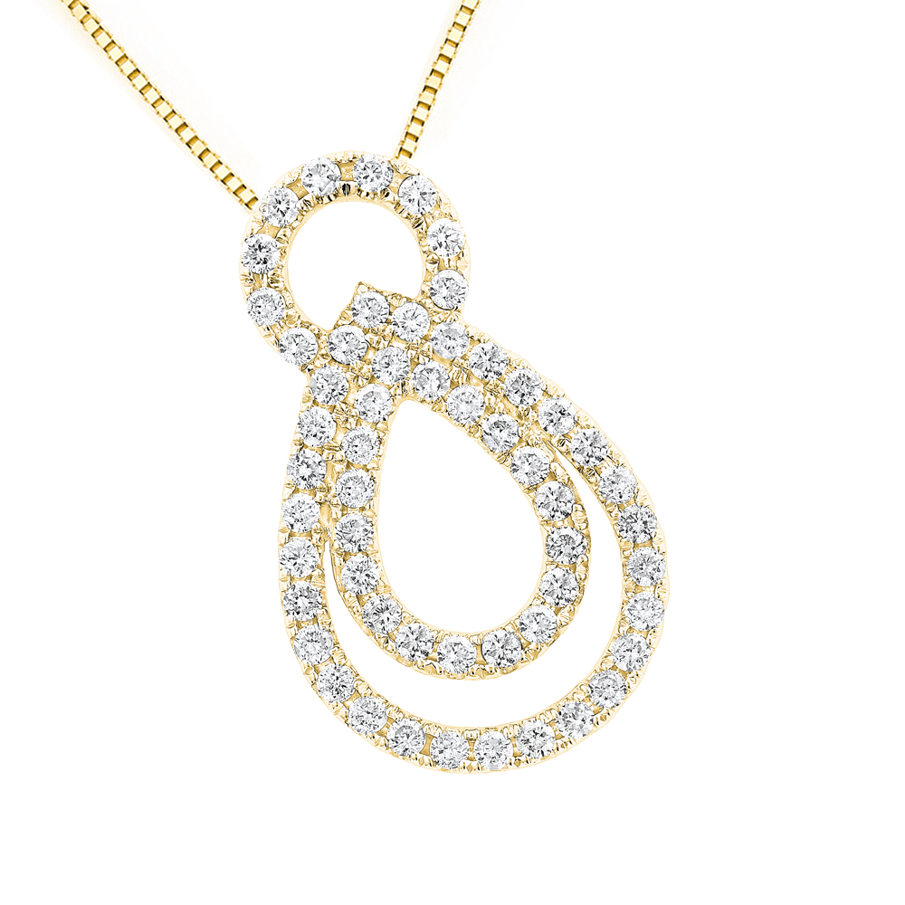 14K Gold Womens Diamond Pendant Round Diamonds 0.95ct