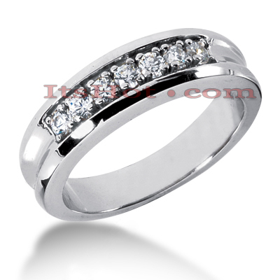 14K Gold Women's Diamond Wedding Band 0.49ct Main Image